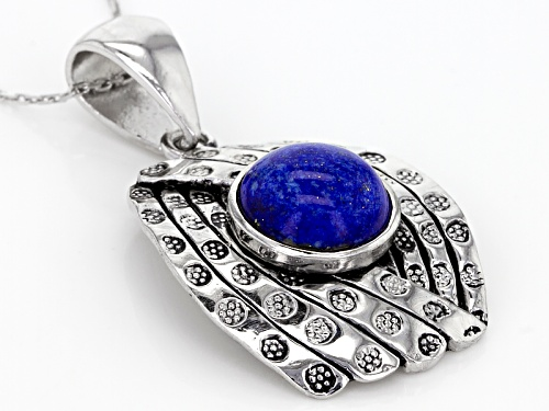10.5mm Round Cabochon Lapis Lazuli Sterling Silver Solitaire Pendant With Chain