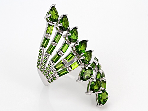4.73ctw Mix Shape Russian Chrome Diopside Sterling Silver Bypass Cocktail Ring - Size 7