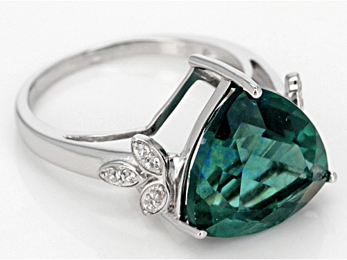 7.57ct Trillion Teal Fluorite With .15ctw Round White Zircon Sterling Silver Ring - Size 6
