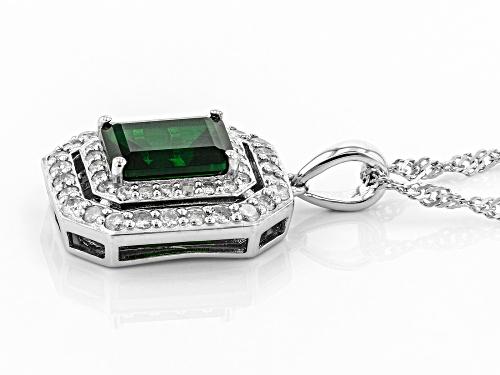1.87ct emerald cut Chrome Diopside With .75ctw White Diamond Rhodium Over Silver Pendant W/ Chain