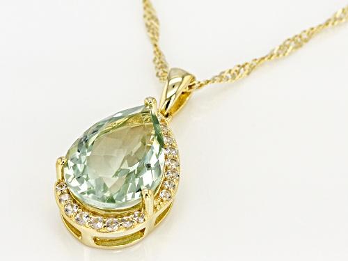 4.25ct Pear Shape Prasiolite W/ .41ctw Zircon 18k Gold Over Silver Pendant W/ Chain