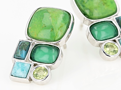 8x8mm Green Turquoise with Mixed Gemstones Rhodium Over Sterling Silver 5-Stone Drop Earrings
