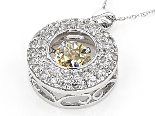 1.00ct Lab Created Strontium Titanate And .71ctw White Zircon 10k White Gold Pendant With Chain