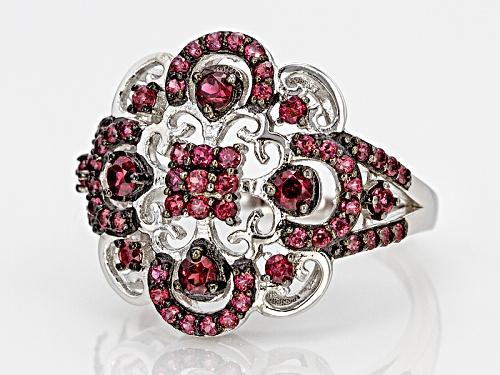 1.33ctw Round raspberry color Rhodolite Garnet Sterling Silver Ring - Size 8