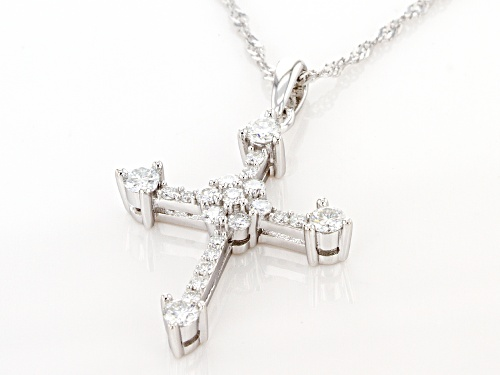 MOISSANITE FIRE(R) .78CTW DEW ROUND PLATINEVE(R) CROSS PENDANT WITH SINGAPORE CHAIN
