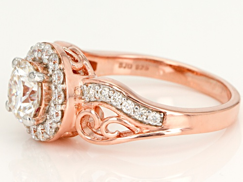 Moissanite Fire® 1.54ctw Dew Round 14k Rose Gold Over Sterling Silver Ring - Size 10
