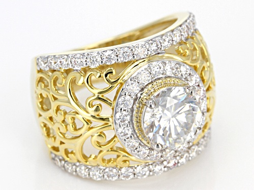 Moissanite Fire® 3.40ctw Dew Round 14k Yellow Gold Over Silver Ring - Size 6
