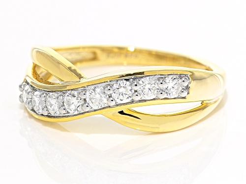 MOISSANITE FIRE® .40CTW DEW ROUND 14K YELLOW GOLD OVER STERLING SILVER RING - Size 6