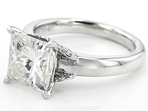 Moissanite Fire® 3.90ct Dew Princess Cut Platineve™ Solitaire Ring - Size 11