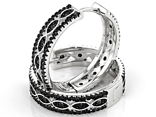 4.43ctw Round Black Spinel Rhodium Over Sterling Silver Hoop Earrings
