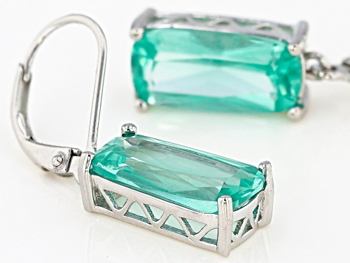 6.89ctw Rectangular Cushion Lab Created Green Spinel Rhodium Over Silver Dangle Earrings