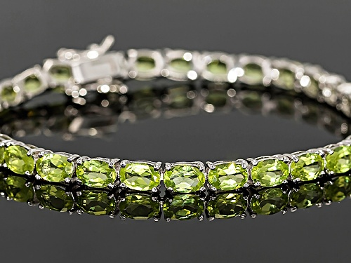 12.14ctw Oval Manchurian Peridot™ Rhodium Over Sterling Silver Tennis Bracelet - Size 8