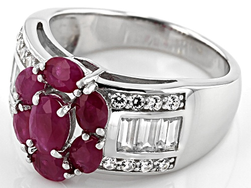 1.48ctw Oval Burmese Ruby With 1.03ctw Baguette & Round Zircon Rhodium Over Silver Flower Ring - Size 10