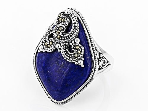 Free-Form Lapis Lazuli with Round Gray Marcasite Rhodium Over Sterling Silver Ring - Size 7