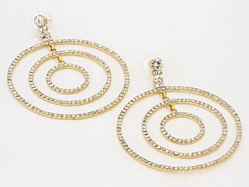 Off Park ® Collection White Crystal Gold Tone Multi Circle Dangle Earrings