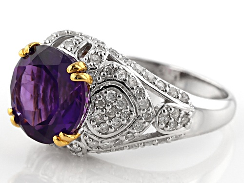 Park Avenue Collection® 2.99ct Purple African Amethyst And .68ctw White Diamond 14k White Gold Ring - Size 8