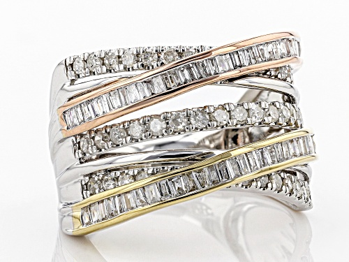 Park Avenue Collection® 1.00ctw Round And Baguette White Diamond 14K Three-Tone Gold Ring - Size 5