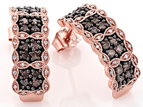 Park Avenue Collection® 0.75ctw Round Champagne And White Diamond 14k Rose Gold Earrings