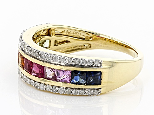 Park Avenue Collection® 1.10ctw Multi-Color Sapphire & Ruby With .24ctw Diamond 14k Yellow Gold Ring - Size 8