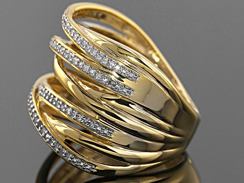 Park Avenue™ .25ctw Round White Diamond 18k Yellow Gold Over Sterling Silver Crossover Ring - Size 6