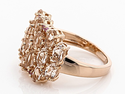 3.13ctw Oval Morganite & .07ctw Round Pink Sapphire 18k Rose Gold Over Silver Ring - Size 8