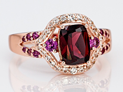 1.78ctw Raspberry Color Rhodolite With .18ctw Zircon 18k Rose Gold Over Sterling Silver Ring - Size 9