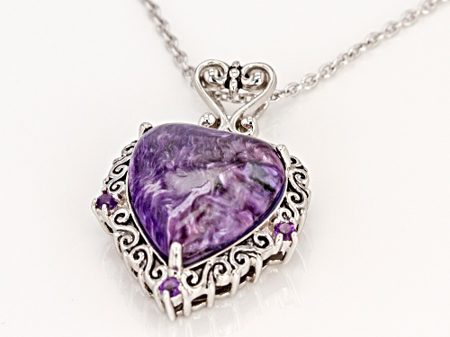 16X15mm charoite with .11ctw African amethyst rhodium over silver heart pendant with chain