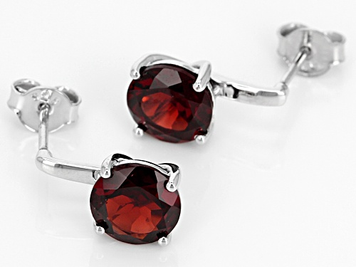 Pre-Owned 3.81ctw Round Vermelho Garnet™ Sterling Silver Solitaire Earrings