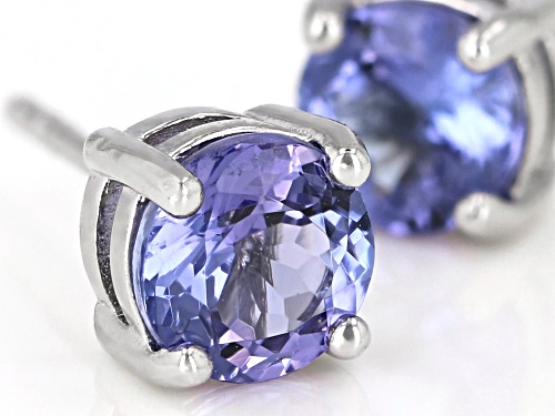 Pre-Owned 1.11ctw Round Tanzanite Rhodium Over Sterling Silver Solitaire Stud Earrings