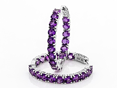 Pre-Owned 7.23ctw Round African Amethyst Rhodium Over Sterling Silver Inside/Outside Hoop Earrings