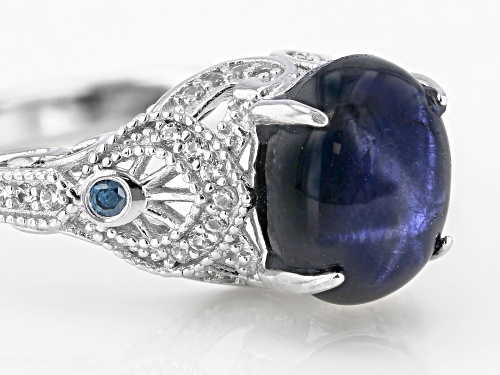 Pre-Owned 3.77ct Blue Star Sapphire & .35ctw White Zircon & .03ctw Two Diamond Accent Rhodium Over S - Size 8