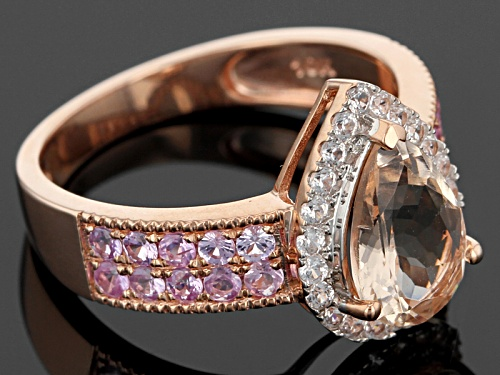 1.75ct Cor-De-Rosa Morganite™ With .20ctw Pink Sapphire & .14ctw White Zircon 10k Rose Gold Ring - Size 8