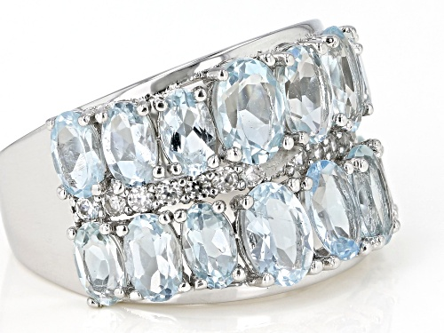 Pre-Owned 4.85ctw Aquamarine Oval With .45ctw Round White Zircon Rhodium Over Sterling Silver Band R - Size 7