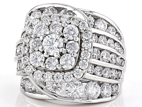 Pre-Owned Bella Luce ® 10.59ctw Rhodium Over Sterling Silver Ring (5.40ctw DEW) - Size 10