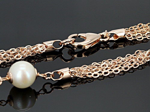 Emulous™ 11-12mm White Cultured Freshwater Pearl 18k Rose Gold Over Bronze Station Necklace - Size 35