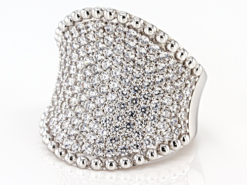 Pre-Owned Bella Luce ® 5.98ctw Rhodium Over Sterling Silver Ring (3.53ctw DEW) - Size 7