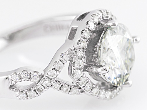 Pre-Owned Moissanite Fire® 3.20ct Diamond Equivalent Weight Round, Platineve™ Ring - Size 8