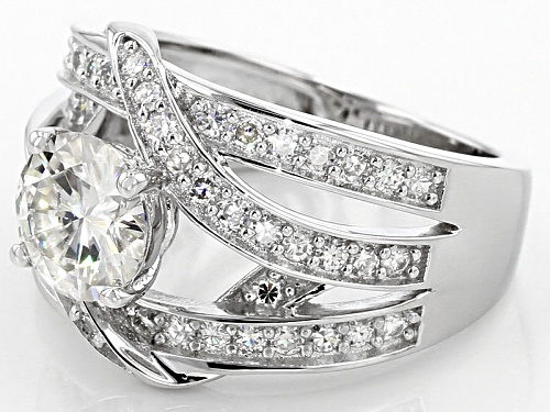 Pre-Owned Moissanite Fire® 1.76ctw Diamond Equivalent Weight Round Platineve™ Ring - Size 8