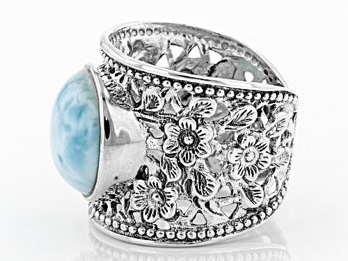 Pre-Owned Round Cabochon Larimar Sterling Silver Wide Floral Design Band Ring - Size 7