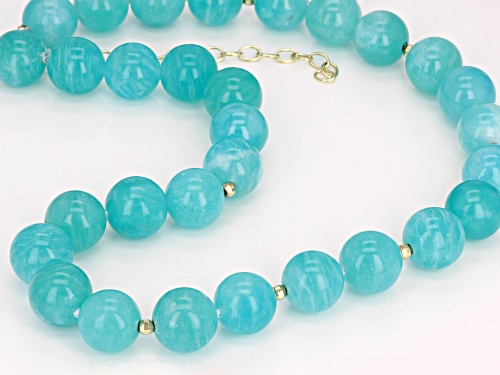 12mm Round Amazonite 10k Yellow Gold Bead Necklace - Size 16