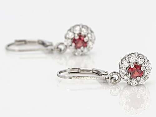 .45ctw Round Anthill Garnet And .90ctw Round White Zircon Sterling Silver Dangle Earrings