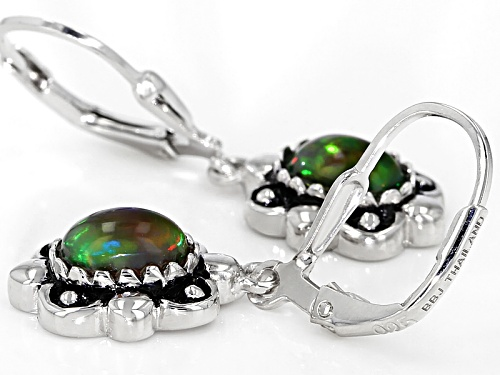 .90ctw Oval Cabochon Ethiopian Black Opal Sterling Silver Solitaire Earrings