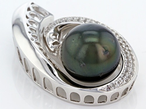 11mm Cultured Tahitian Pearl With .44ctw Round White Zircon Rhodium Over Sterling Silver Pendant
