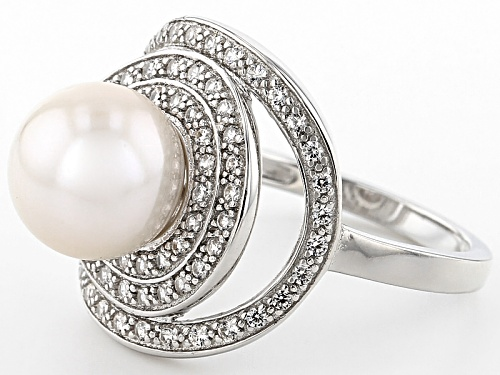 9-9.5mm White Cultured Freshwater Pearl With 0.39ctw Zircon Rhodium Over Sterling Silver Halo Ring - Size 10
