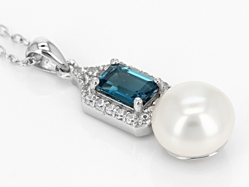 8.5-9mm Cultured Freshwater Pearl, London Blue Topaz & Zircon Rhodium Over Silver Pendant & Chain