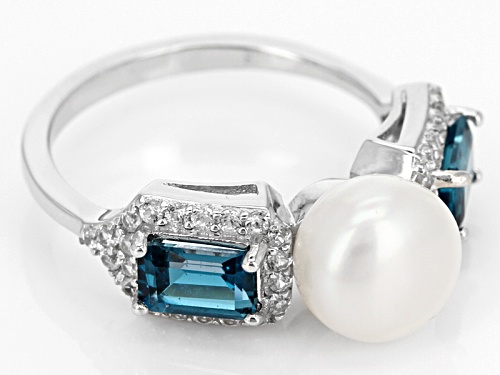 8.5-9mm White Cultured Freshwater Pearl, London Blue Topaz & White Zircon Rhodium Over Silver Ring - Size 12