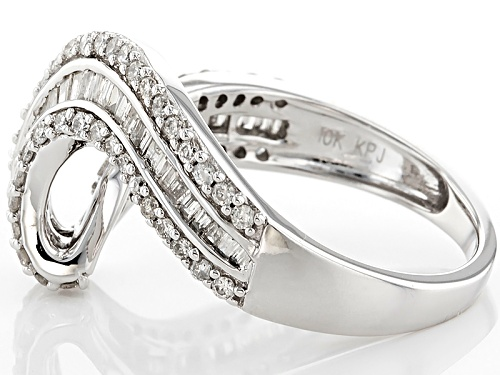 .75ctw Round And Baguette White Diamond 10k White Gold Ring - Size 5