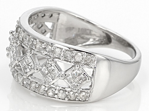 1.00ctw Round And Princess Cut White Diamond 10k White Gold Ring - Size 7