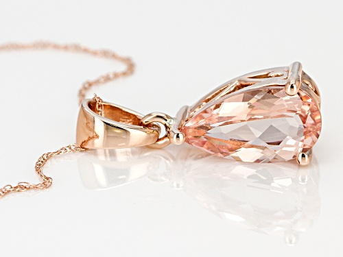 2.32ct Pink Pear Shape Cor-De-Rosa Morganite™ Solitaire 10k Rose Gold Pendant With Chain