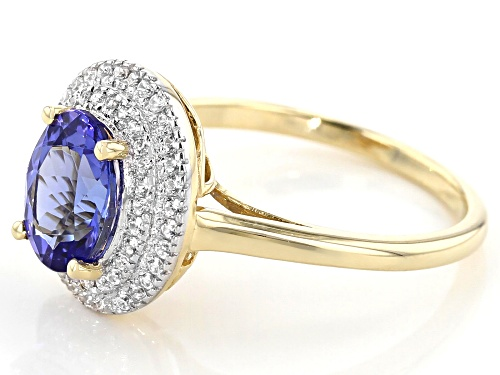 1.48ct Oval Tanzanite With .35ctw Round White Zircon 10k Yellow Gold Ring - Size 7